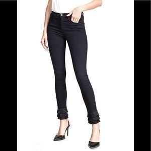 Frame Le High Black Skinny Triple Fringe Jeans